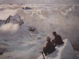Wanderer in den Alpen gönnen sich auf diesem Gemälde eine wohlverdiente Pause nach Erreichen des Berggipfels